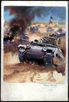 "A British Matilda tank in Libya. ""British Matilda tanks"" Artist unknown, Post-1942"