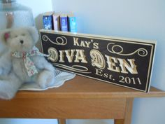 Personalized Wooden Carved Diva Den Family Name by TKWoodcrafts, $39.95