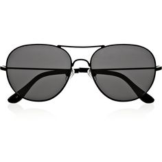 The Row Aviator metal sunglasses ($196) ❤ liked on Polyvore featuring accessories, eyewear, sunglasses, glasses, black, aviator style sunglasses, aviator eyewear, metal glasses, aviator style glasses and metal aviator sunglasses