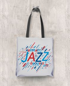 Abstract Jazz Grooves Vol. 1 - All-Over Printed Poly Tote Bag (Grey)