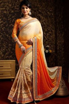 Orange and off white shaded sari with embroidered pallu Orange and off white shaded net georgette jacquard Comes with matching unstitched blouse Buy Designer Sarees Online, Indian Designer Sarees, Latest Designer Sarees, Indian Sarees Online, Blouse Art, Collar Blouse, Party Wear Sarees Online, Indian Clothes Online, Indian Party Wear