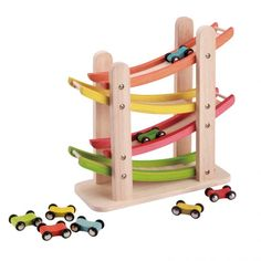 Junior Ramp Racer Deluxe  Wooden ramp track with 8 race cars -Clackety-clackety-clackety... hypnotic flip-flopping racers appeal to ears, hands, and eyes. ages 1½-4