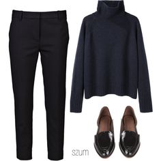 A fashion look from September 2013 featuring raglan sweater, pencil trousers and plum flats. Browse and shop related looks.