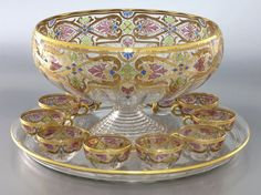 Lot:13 Pcs. Fritz Heckert enameled glass punch bowl, Lot Number:24, Starting Bid:$300, Auctioneer:Dallas Auction Gallery, Auction:13 Pcs. Fritz Heckert enameled glass punch bowl, Date:02:00 PM PT - Feb 24th, 2016