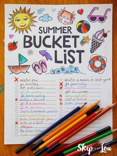 Printable Summer Bucket list coloring page will make sure their is lots of summer fun! You won't miss a thing as you check off each fun activity as you go.