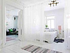 aménagement de maison cloison rideau transparent pour la chambre à coucher