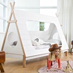 Kinderbett TIPI Indianerzelt Wigwam Zelt Bett Jugendbett 200 x 90 cm weiß NEU