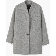 Cocoon Wool-Blend Coat (28.740 HUF) via Polyvore featuring outerwear, coats, long sleeve coat, wool blend coat, green coat, fur-lined coats and cocoon coat