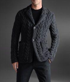 Armani Collezioni Men's Knit Jacket with Lapel Collar  100% Wool  http://www.armani.com/us/armanicollezioni/knit-jacket_cod39317208cm.html#