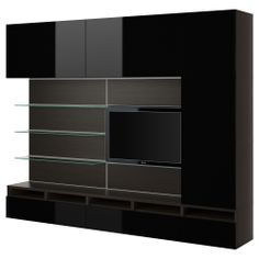 BESTÅ/ FRAMSTÅ $1243. TV/storage combination, black-brown, high gloss black. Not sure this will work in front of a window, but I love the look!