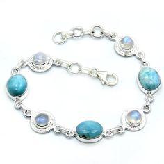 Elegant Sterling Silver Larimar, Moonstone Bracelet  Price : $117.25 http://www.silverplazajewelry.com/Elegant-Sterling-Silver-Moonstone-Bracelet/dp/B00FOQUEBK