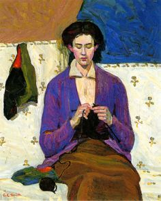 The sock knitter by Grace Cossington Smith, 1915