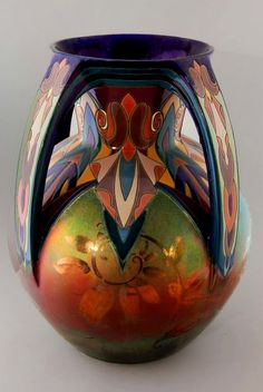 "French Montieres Pottery Vase.......wow; I like the pulled ""handles"" from the lip"
