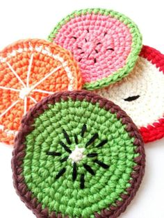 Fruit slice Coaster set of Crochet Organic cotton Kitchen Housewarming gift, Vegetarian gift eco-friendly, Colorful Vegan Home accents STEP-BY-STEP INSTRUCTIONS and PHOTOS to Knit a Bunny from a Square STEP To start with, we're going to thrown for vari. Crochet Gifts, Crochet Toys, Cotton Crochet, Fruit Slices, Housewarming Wishes, Cosy Decor, Gifts For Colleagues, Crochet Fruit, Crochet Home Decor