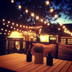 String lights to light up your evenings outdoors! Shop all variations of string lights at www.partylights.com! #patio #lights