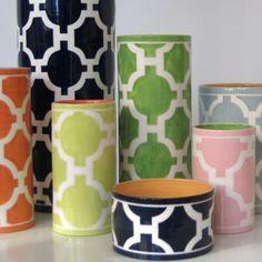 Jill Rosenwald designed these preppy cylinders. @Brandy Smith