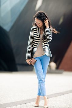 stripes, blue and nude