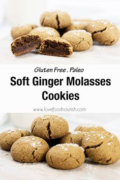 These soft ginger molasses cookies make a delicious holiday treat. They are soft, slightly chewy, sweet with a bit of ginger spice and very moreish! Gluten-Free, dairy-free, and Paleo-friendly. #christmascookies #gingercookies #glutenfreecookies #glutenfreechristmasrecipes
