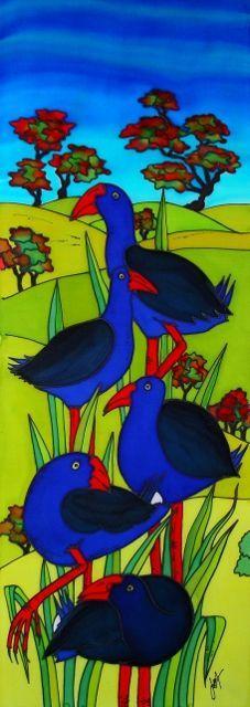 Pukekos and Pohutukawas Art Maori, Maori Designs, New Zealand Art, Nz Art, Art Folder, Kiwiana, Bird Art, Beautiful Birds, Wall Collage