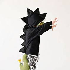 Kids Black Dragon Hoodie -- Scorched. Funny wild trendy unique handmade kid's jacket.