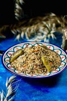 Rouz jerbi is a Tunisian dish prepared with rice, which includes various vegetables, meats, spices and herbs, that can change according to the seasons. Tunisia Recipe, Tunisian Food, Spices And Herbs, Middle Eastern Recipes, Rice Recipes, Main Dishes, Vegetarian, Beef, Traditional