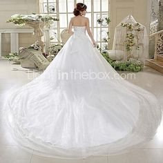 A-line Wedding Dress Cathedral Train / Floor-length Strapless Tulle with Bow / Sequin 2017 - kr.788