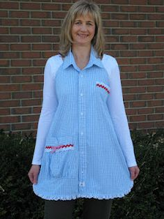 Oh my what a great idea! Up cycle a shirt - - make a pretty apron! What a great idea! I know of some shirts in my husband's discard pile I would LOVE to do this with! But I would bling it more. Apron Tutorial, Shirt Tutorial, Sewing Aprons, Sewing Clothes, Men's Shirt Apron, Dress Shirt, Sewing Hacks, Sewing Crafts, Cute Aprons