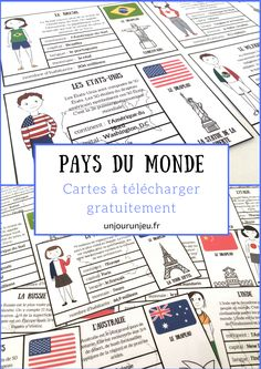 Here are some small cards to print from different countries to discover … French Teacher, Teaching French, French Classroom, School Classroom, Geography Map, Education Degree, French Immersion, Classroom Language, Small Cards