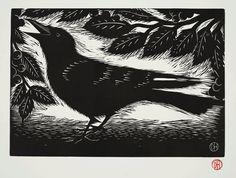 Crow ~ Linocut by Deborah Harris