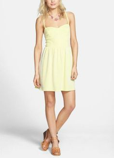 This yellow textured fit and flare dress is perfect for a spring weekend.