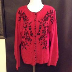 HEIRLOOM COLLECTIBLE Vintage Embroidered Sweater HEIRLOOM COLLECTIBLES Vintage Embroidered Red Sweater with black tubular beads! (Size Women's S) Heirloom Collectibles Sweaters