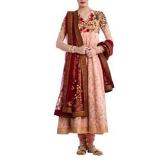 Old Rose & Maroon Suit by ANJU MODI. Original price is Rs.45,800 and our 50% DISCOUNTED price is Rs.22,900 + 12.5% Tax.