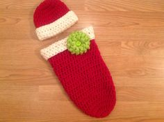 Holiday Cocoon and Hat great for a photo shoot or your Holiday cards