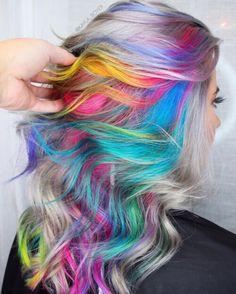 Rainbow Hair Color Ideas You'll Really Go Wild For! I really love this!