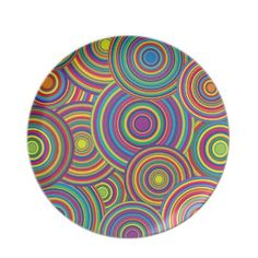 Retro Rainbow Circles Pattern Party Plate $28.10