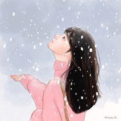 갑작스레 맞이한 첫 눈, 설레임의 시작 #illust #감성 #그림 #드로잉 #인물화 #인물일러스트 #감성일러스트 #눈 #겨울 #drawing #여자일러스트 First Snow, Drawing, Anime, Sketches, Cartoon Movies, Anime Music, Drawings, Animation, Draw