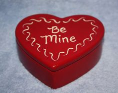 Handpainted Ceramic Red Heart Trinket Box by FlutterbyConnections, $10.95