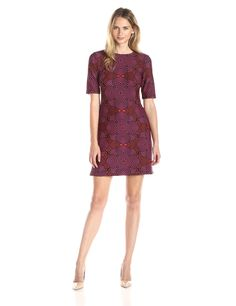 Taylor Dresses Women's Scuba Abstract Shift, Crimson Cherry, 10