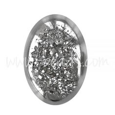 Drusy Quarz ovaler Cabochon Platinium Dream 13x18mm (1)