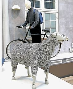 Telephone Sheep by Jean Luc Cornec - recycled telephones and curly cables