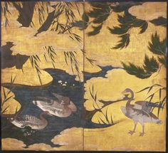 Japanese Screen - Geese in a Pond