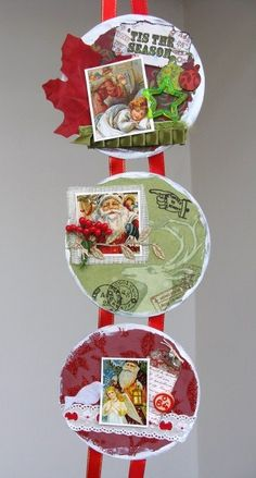 Altered CD Christmas wallhanging