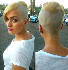 ChickFades: shorthairbeauty: OMG I'm in love with this (her) Oval Face Hairstyles, Lob Hairstyle, Great Hairstyles, Undercut Hairstyles, Shaved Hairstyles, Shaved Hair Women, Shaved Hair Cuts, Half Shaved Hair, Short Hair Undercut