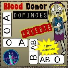 Blood Donor Dominoes {A Blood Type Matching Game} Hands On Activities, Fun Activities, Biology For Kids, Blood Groups, Human Body Unit, Halloween Printable, Typing Games, Blood Donation, Classroom Games