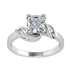 Engagement Ring with Side Stone 0.06 CT. TW.