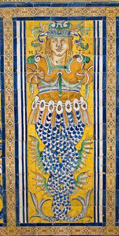 Azulejos en el Palacio Gótico, Alcázar de Sevilla