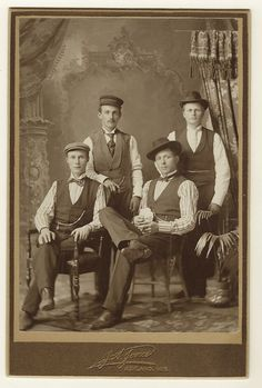 This cabinet card portrait features four well dressed hatted young men posing for their portrait at the J. A. Jones studio in Ashland, Wisconsin. The men present themselves with an air of confidence. That is particularly true of the fellow seated on the right of the photograph. The photographer of this image is John A. Jones. He operated a photography studio in Ashland between 1893 and 1916