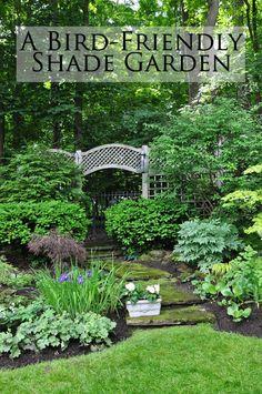 Three Dogs in a Garden: A Bird-Friendly Shade Garden - My Cottage Garden Garden Beds, Garden Paths, Garden Cottage, Rocks Garden, Back Gardens, Outdoor Gardens, Outdoor Plants, Outdoor Shade, Vertical Gardens