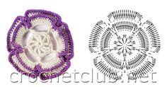fleur en relief violette et blanche