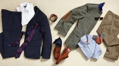 These are the basics that every man must own.  I would recommend some dark wash denim for a casual outfit, and a couple bold polo shirts.  Some gold rim small frame aviators to go with the suit.  And lastly a pair of navy blue campus shoes and a watch.